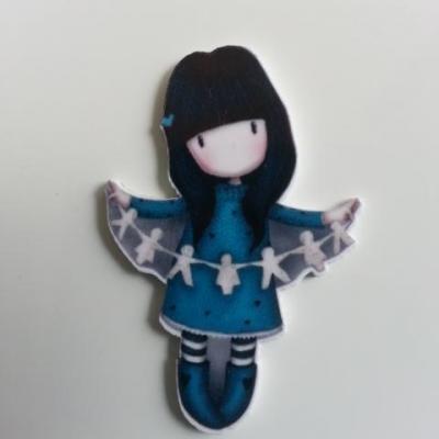 Cabochon plat en résine poupée fille bleu santoro 45*33mm