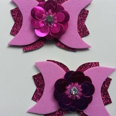 lot de 2 barrettes avec noeud simili  rose et fleur paillette