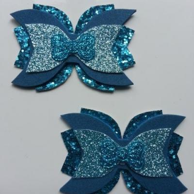 lot de 2 barrettes avec noeud en simili bleu