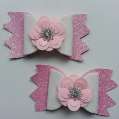 lot de 2 barrettes avec noeud simili  rose, blanc et fleur paillette