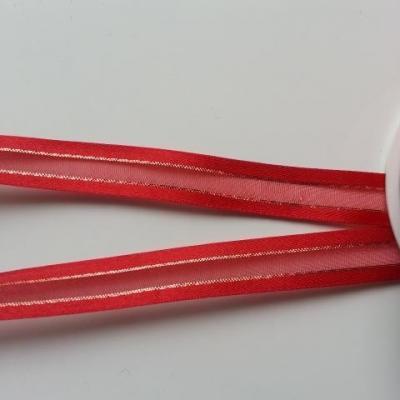 1 metre de ruban satin et organza rouge  liseré or    15mm vendu au  mètre