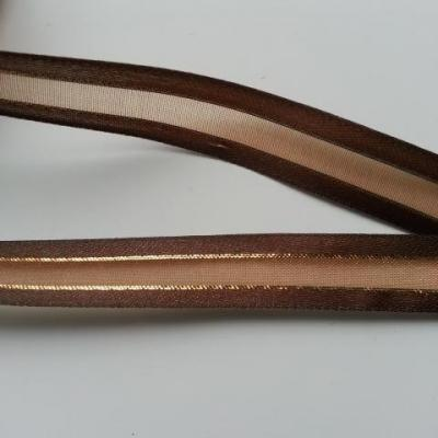 1 metre de ruban satin et organza marron  liseré or    15mm vendu au  mètre