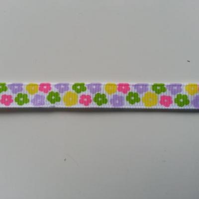 0,67 metre  de ruban gros grain blanc  motif fleur rose, vert, mauve, jaune 10mm