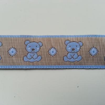 0,57 mètre de  ruban beige ourson bleu   25mm de largeur