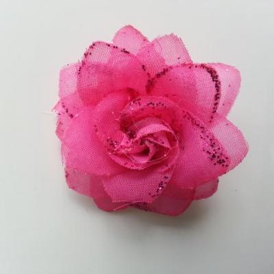 Fleur  en tissu pailletée  rose fuchsia  50mm