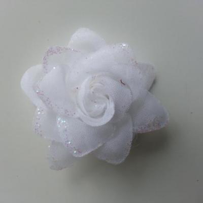 Fleur  en tissu pailletée  blanc  50mm