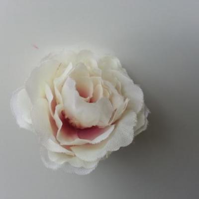 fleur tissu pivoine blanche et rose  40mm