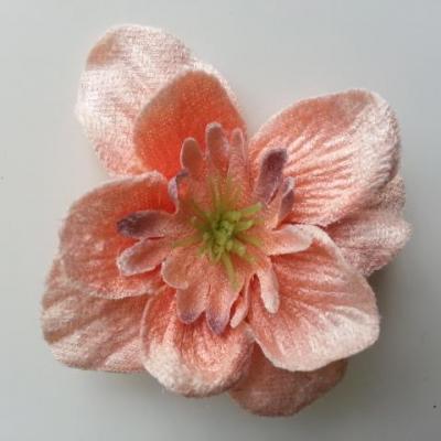 fleur en tissu velours 80mm peche