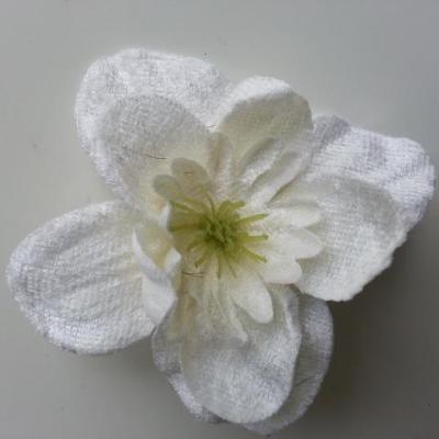 fleur en tissu velours 80mm ivoire