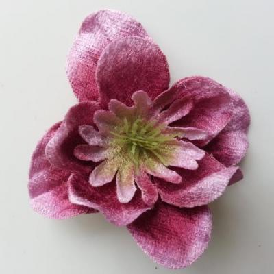 fleur en tissu velours 80mm prune