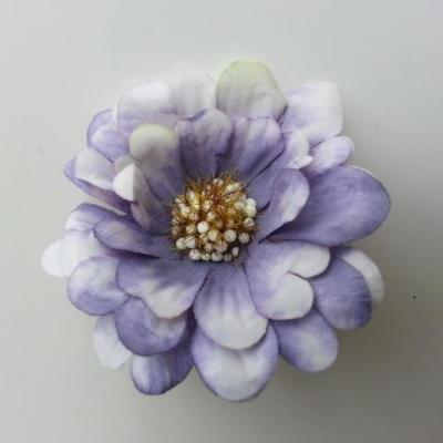 fleur artificielle en tissu 60mm ivoire et violet