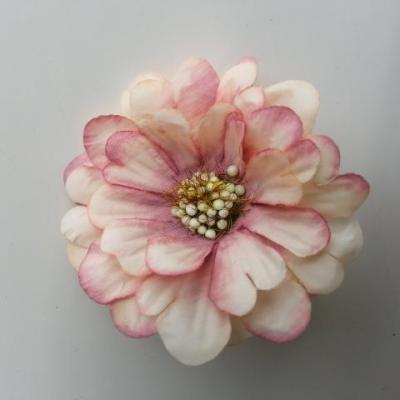 fleur artificielle en tissu 60mm ivoire et vieux rose