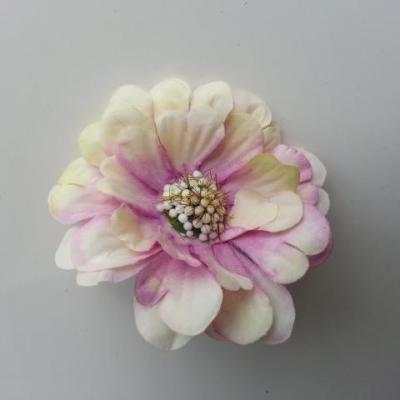fleur artificielle en tissu 60mm ivoire et mauve