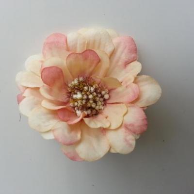 fleur artificielle en tissu 60mm ivoire et peche