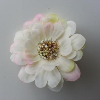 fleur artificielle en tissu 60mm ivoire et rose