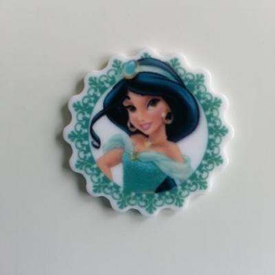 cabochon plat en résine  princesse jasmine 1001 nuits  30mm (2)
