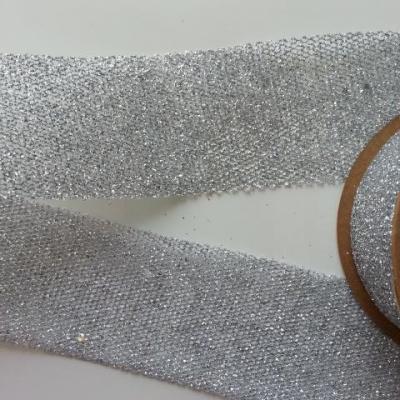 1 metre de ruban  tulle pailleté argent    50 mm