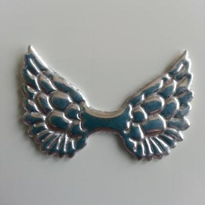 applique ailes d'ange en tissu brillant 50*30mm argent