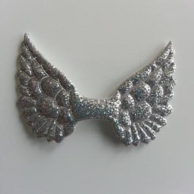 applique ailes d'ange en tissu pailleté  50*30mm argent