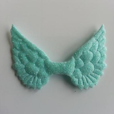 applique ailes d'ange en tissu pailleté  50*30mm vert pastel