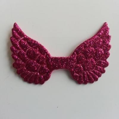 applique ailes d'ange en tissu pailleté  50*30mm rose fuchsia