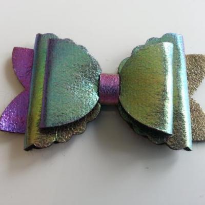 gros noeud en simili 90*50mm bleu, vert, violet brillant