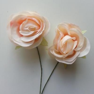 lot de 2 fleurs en tissu sur tige 30mm peche clair