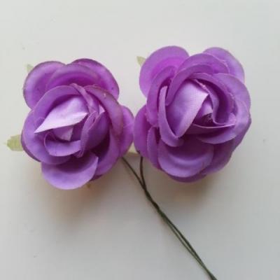 lot de 2 fleurs en tissu sur tige 30mm mauve