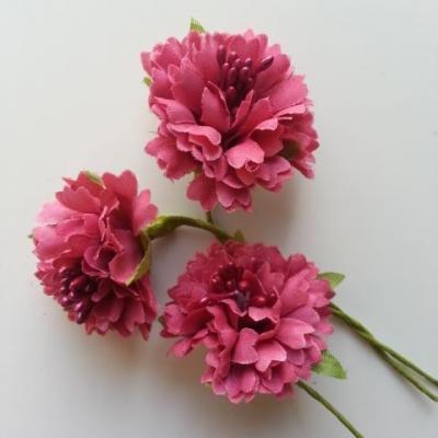lot de 3 fleurs en tissu et pistils sur tige 40mm vieux rose