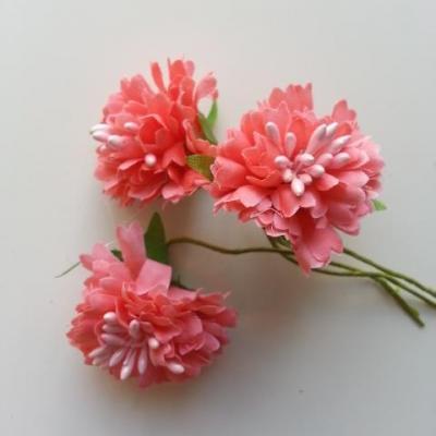 lot de 3 fleurs en tissu et pistils sur tige 40mm saumon
