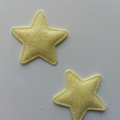 lot de 2 étoiles matelassée pailletée jaune 33mm