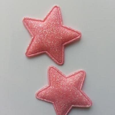 lot de 2 étoiles matelassée pailletée peche 33mm