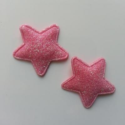lot de 2 étoiles matelassée pailletée rose 33mm
