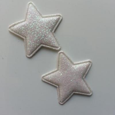 lot de 2 étoiles matelassée pailletée blanc 33mm