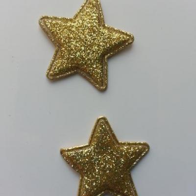 lot de 2 étoiles matelassée pailletée doré, or 33mm