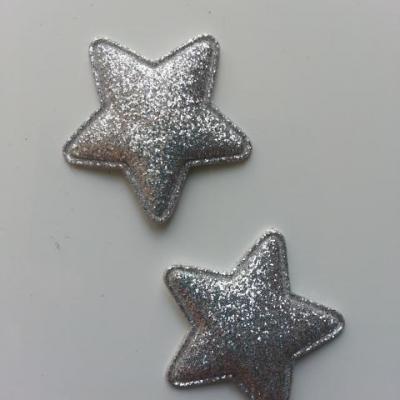 lot de 2 étoiles matelassée pailletée argent 33mm