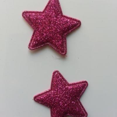 lot de 2 étoiles matelassée pailletée rose fuchsia  33mm