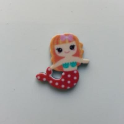cabochon en résine sirène queue rouge cheveux blonds 19*19mm