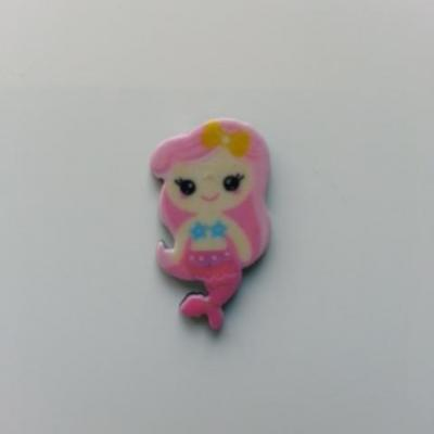 cabochon en résine sirène queue rose cheveux rose 12*21mm