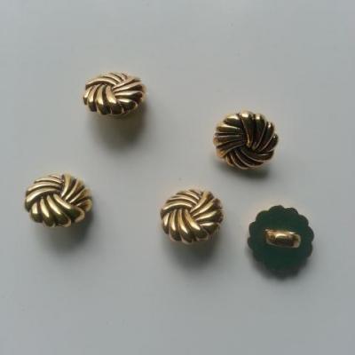 lot de 5 boutons ronds plastique doré , or et noir  13mm