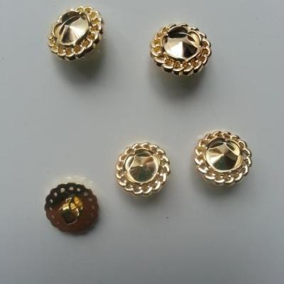 lot de 5 boutons ronds plastique doré , or   13mm