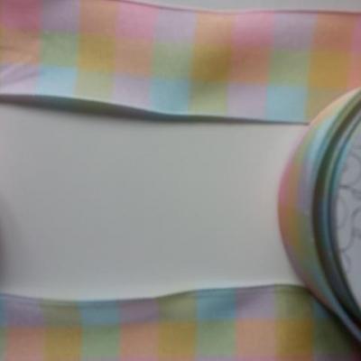 1 metre de ruban  polyester carreaux multicolore  38 mm