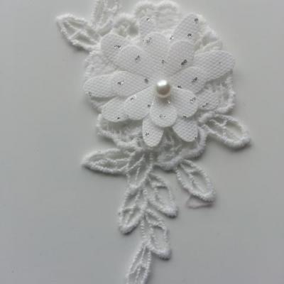 applique fleur en dentelle blanc  pois argenté 10*5cm