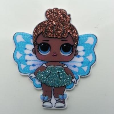 cabochon en resine poupée LOL papillon bleu   40*48mm