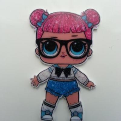 cabochon en resine poupée LOL à lunettes  30*50mm