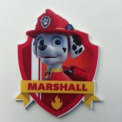 Cabochon  plat en résine marshall paw patrol 38*45mm