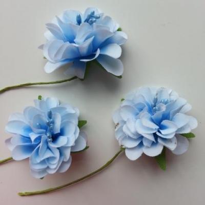 lot de 3 fleurs en tissu et pistils sur tige 40mm bleu