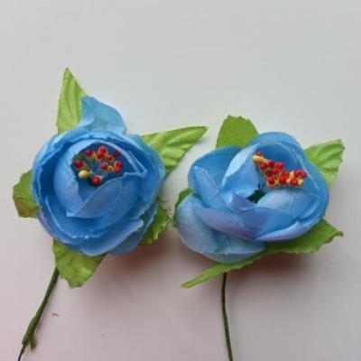 lot de 2 fleurs pistils et feuilles artificielles en tissu sur tige  bleu