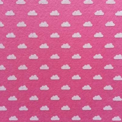 Carré de feutrine motif nuage 15*15cm rose