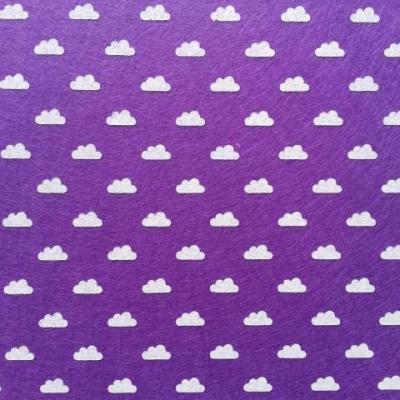 Carré de feutrine motif nuage 15*15cm violet